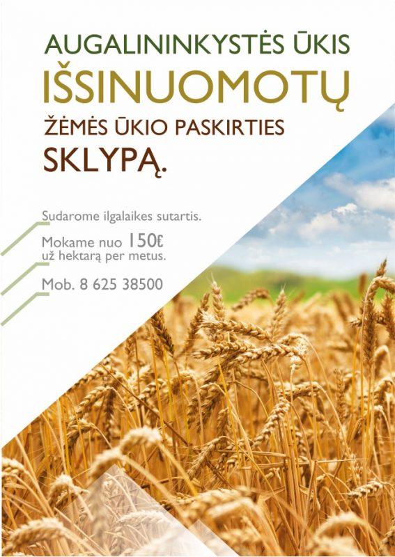 Ūkis išsinuomotų žemę Kėdainių raj.